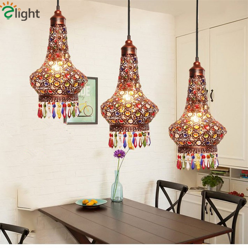 Romantic Simple Mediterranean Iron Led Pendant Light Dining Room Lustre Crystal Suspend Light<br><br>Aliexpress