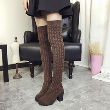 Women Boots 2017 Autumn Winter Ladies Fashion Flat Bottom Boots Shoes Over The Knee Thigh High Knitting wool Long Brand Boots