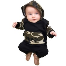 Spring Autumn Baby designer clothes Boys Camouflage Camo Hoodie Tops Long Pants Outfits Set
