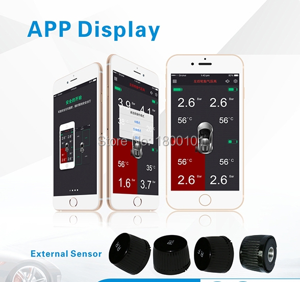 APP display TPMS car tire pressure monitor system,4 external sensors to alarm wireless bluetooth for Andriold and ISO system<br><br>Aliexpress