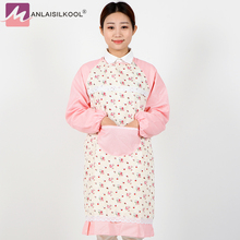 2017 Fashion Floral Pattern Aprons Long Sleeved Apron Lace Wave Point Pattern Women Kitchen Cooking Household Cleaning Aprons(China)