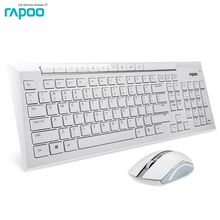 Rapoo 8200P Silent Slim Waterproof Multimedia Wireless Keyboard and Mouse 2-in-1 Combo kit for Laptops Desktops PC - white(China)