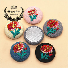 10pcs 23mm Flower Embroidery Fabric Covered Round Flatback Buttons DIY Home Garden Scrapbooking