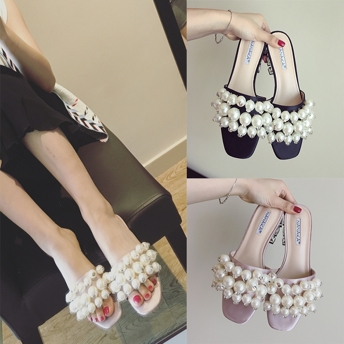 Summer New Arrival Women Fashion Big Pearl Slippers Open Toe Thick Heel Shoes Female Casual Beach Slippers 2 Colors<br>