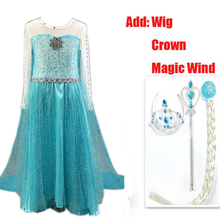 2016 hot selling girl princess dress vestidos infantis congelados anna elsa fever dress diamond dress costume add Crown WIg Set
