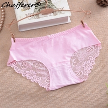 Chafferer Women Pink Lace Stitching Low-Rise Sex Underwear Panties Cotton Crotch Seamles Ladies Solid Cozy Breathable Briefs Hot(China)