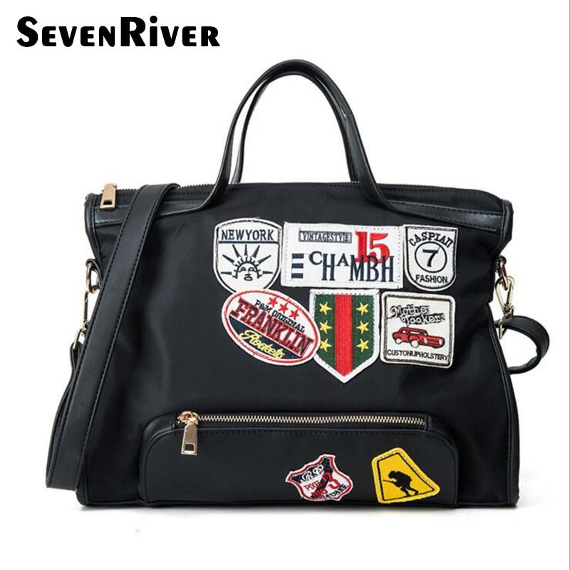 New Arrival Unisex Canvas Large Travel Bag Ladies Badge Shoulder Totes Bag Women Handbags Mens Crossbody Messenger Bags<br>