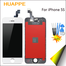 HUAPPE 1PCS Good Quality High Definition Display For iPhone 5S LCD Touch Screen Replacement No Dead Pixel 4.0 inches Black White(China)