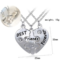 New sweater chain broken soul Pieces 3 better lover pendant gold necklace jewelry gift for best friends forever gift  N21