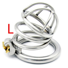 Buy Stainless Steel Arc-shaped Cockring Male Chastity Device Cock Cage Sex Toys Men Penis Lock Metal Small Chastity Cages G175