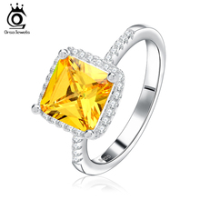 ORSA JEWELS Beautiful Women Wedding Ring 2 ct Princess Cut Yellow Zircon with Micro Paved Clear Zircon Ring for Woman OR57(China)