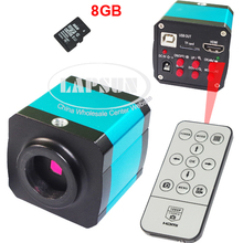 14MP 1080P CMOS HDMI HD USB Output Industry PCB Soldering C-mount Microscope Video  DVR Camera  + 8GB TF Card  + Remote Control