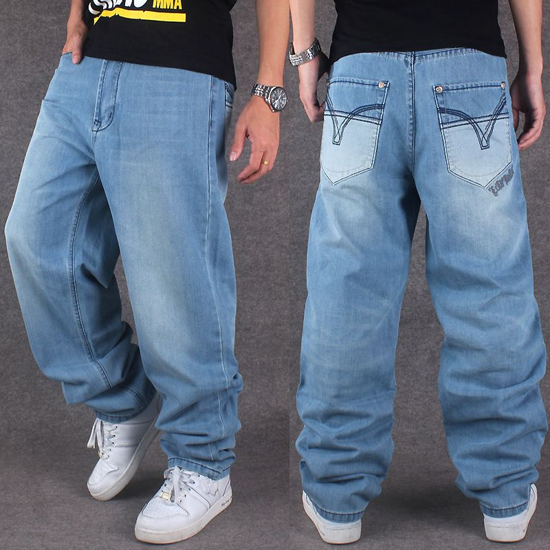 Men Wide Leg Denim Pants Hip Hop light blue Casual jean trousers Baggy jeans for Rapper Skateboard Relaxed Jean joggers 71808Îäåæäà è àêñåññóàðû<br><br>