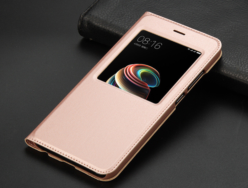 view quick answer open window leather flip case for xiaomi mi A1 mi 5x   11
