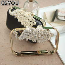 18X10 CM Metal-Accessories-For-Handbag Obag Handle Accessoire Sac A Main Crystal Clasp Metal Purse Frame With Plastic Box Clutch(China)