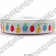 6mm-75mm cute pineapple printed grosgrain ribbon 22mm 25mm /fruit elastic band decorative handmade hair bows 50 yards MD5443