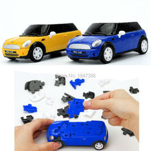 64PCS Mini Cooper 1:32 Licensed 3-D Car DIY Puzzle Model Building Kits Set, Children Funny Vehicle KitsToy,Blue and Yellow