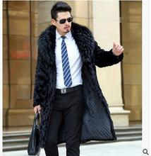 S/5Xl Men Winter Faux Mink Fur Coats Casual Black Large Size Long Male Fur Overcoats Male Faux Fur Coats Jaqueta Masculina J1540