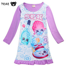 TEAEGG Toddler Girls Sport suit Long Sleeve Cartoon Pyjamas for children 2018 Spring Cute Ruffle dress Kid's Nightgown 4-10Y(China)