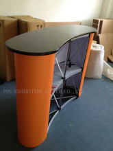 Folding display marketing table, pop up promotion table,pop up counter with shelves FREE Print & Ship(China)