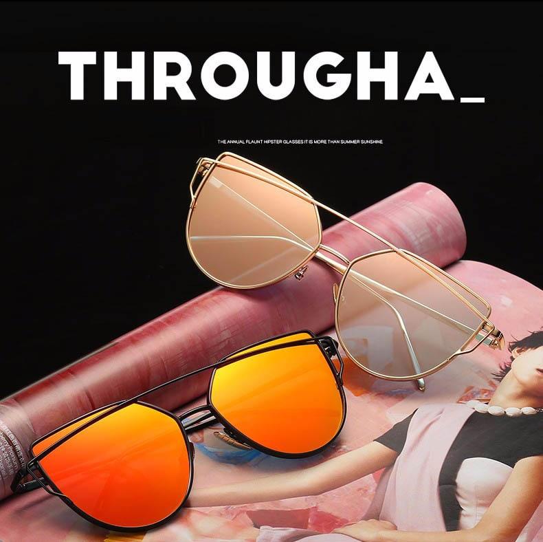 2017 Brand Retro Cat Eye Sunglasses Women Vintage Fashion Rose Gold Mirror Eye Glasses Unique Flat Ladies Eyewear Oculos UV400 16