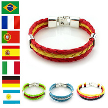 Buy 2018 Russia World Cup Flag Color Bracelet Spain Germany Football Fans Symbolize Wearing Hand-woven Retro PU Leather Bracelet for $1.45 in AliExpress store
