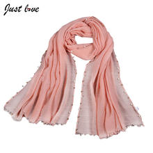 New Design Girl Pure Color Scarf Pearl Bead Shawl Scarf Muffler Hijab Fashion Wrap Long Scarves/scarf  Plain Shawl
