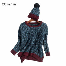 Fashion Patchowrk Women Sweater Pullovers Elegant O-neck Ladies Knitted Tops Mori Female Simple Warm Sweaters With Hat YN2320(China)