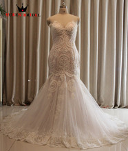 Vestido De Noiva Mermaid Bridal Gown Fish Tail Fashionable Sexy Wedding Dress 2017 Pearls Beaded Lace Appliques PA99