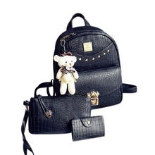 2017 New Spring Design Leather Backpack Women Backpacks For Teenage School Bag Shoulder Bags 3 Sets with a free bear pendant