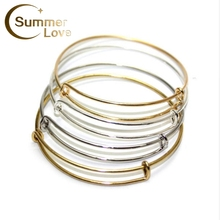 Hot Sale USA Cable Bangle Jewelry Expandable Wire Bracelets Bangles Women Jewelry DIY 10 Pcs/Lot 63-65mm High Quality Wholesale(China)