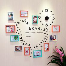 11pcs Modern photo frame wall art decor combination wood clock home decoration frame picture frame 140x100cm wall sticker hot