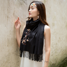 Embroidery Fashion Cashmere Scarf women Winter Tassel Warm Flower Pashmina 8 color Red Grey Black Wrap Shawl hot sale Cachecol(China)
