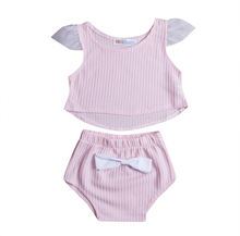 Newborn Baby Girls Lovely Clothes Sets Cotton Tops Vest Sleeveless Shorts Cute 2Pcs Outfits Clothing Set