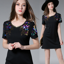 M~5XL High End 2016 Summer Women Sexy Elegant Plus Size Embroidery Flower Paillette Cotton Short Female Big Stretch OL Dresses