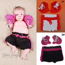 Newborn Baby Boy Boxing Photography Fotografia Props Baby Knitted Boxer Outfits Crochet Baby Boxing Gloves&Pants Set 0-3M(China)