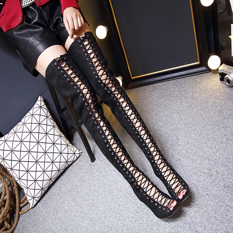 Summer Thigh High Gladiator Sandals Boots Women Shoes Sexy Peep Toe Cut out Over Knee Gladiator Boots High Heel Sandal Boots<br>