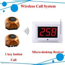 Wireless Table Waiter Paging System ; Wireless call system of 5pcs call buttons and 1 pc display receiver