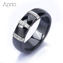A&N Stainless Steel Ceramic Rings For Women Three Lines Inlaid Zircon Cubic Unique Design Cheap Cocktail Rings Wedding Jewelry