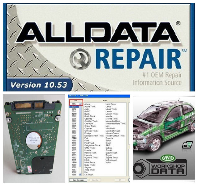 HOT!!! 2016 new arrive Auto Repair Software Alldata 10.53 + Mitchell 2015 + all data and Vivid Workshop 3 softwares in 1tb HDD<br><br>Aliexpress