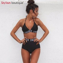 Sport Styles Bikini 2017 Women Swimwear Brazilian Bikini Swimsuit Letter Printed Bathing Suit Women Swimwear Solid Beachwear
