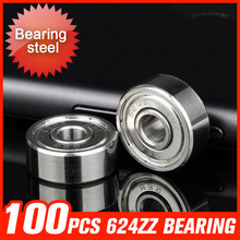 100pcs 624ZZ Bearing 13x4x5mm Deep Groove Minture Ball For Laminating Machine Electronic Products Manufacturing Equipment(China)