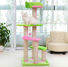 H106cm Cat Toy Scratching Wood Climbing Tree with Balls Cat Toy Climbing Frame Cat Furniture Scratching Post for Fun
