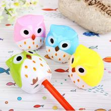 Cute Owl Design Pencil Sharpener Cutter Knife Mini Owl 2 Hole Sharpeners Promotional Kids Gift Stationery Pencil Sharpeners(China)