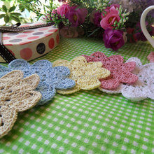 2015 fashion 5 colors 30 pics/lot cotton knitted doilies fabric table coaster felt for wedding decor cup pad table mat placemat