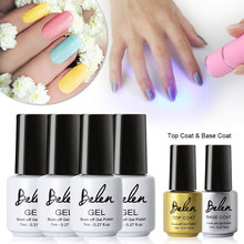 Belen UV LED Gel Varnishes 4 Manufacture Of Colors Gel Lacquer With Top Nail Base Coat Led Lamps For Nails Art Set