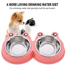 Combo Dog Bowl Cat Food Single Bowl Double Pet Bowl Safety Environmental Protection Plant PP resin+stainless steel(China)