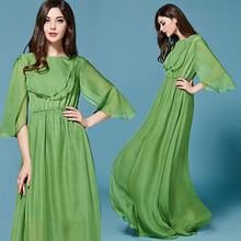 Luxury Dress 2017 New Fashion Spring Summer Casual Flare Sleeve Swing Elegant Green Floor-Length Design Maxi Dress