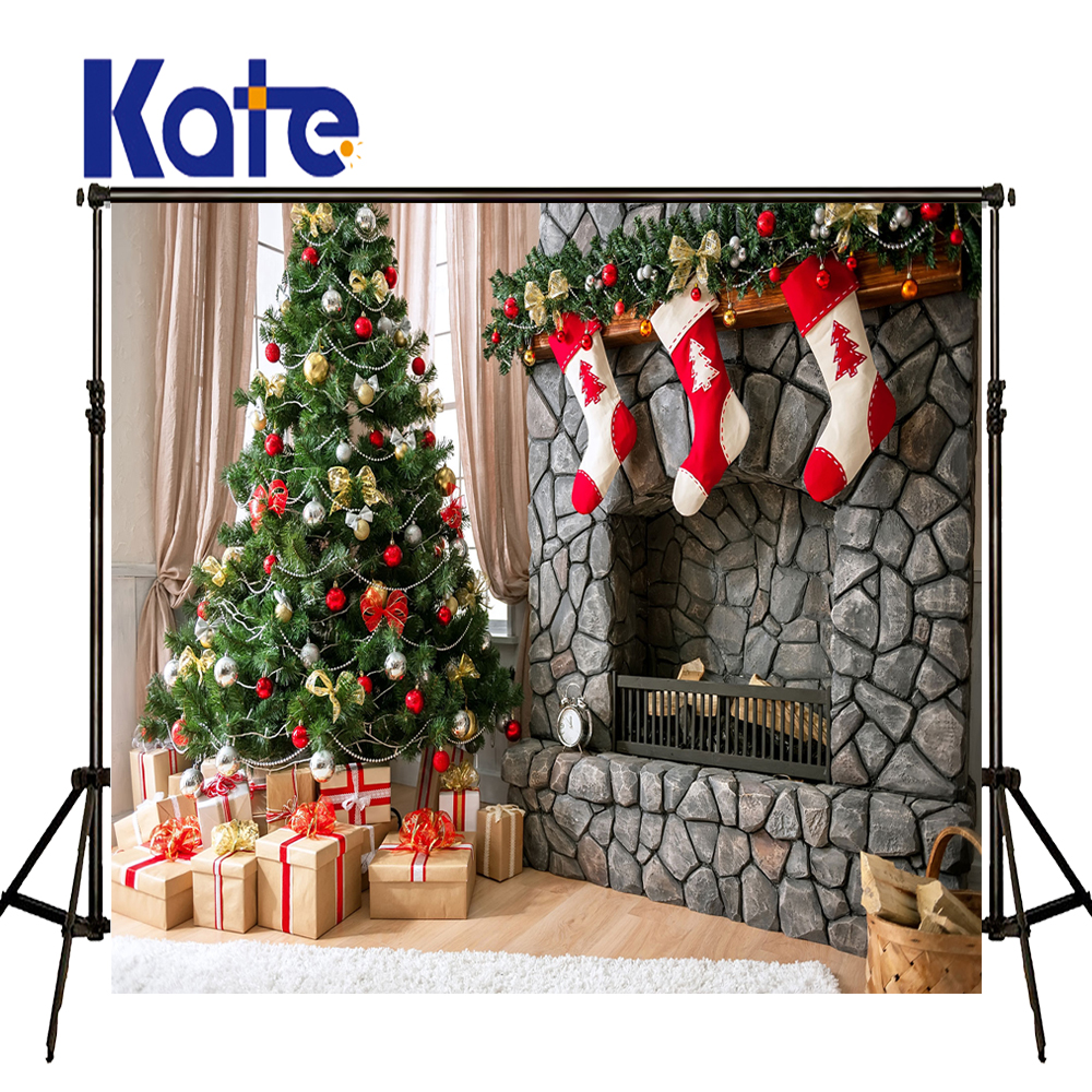 Kate Festival Merry Christmas Backgrounds Socks Gift Stove Backdrops For Photography Indoor Bell Tree Alarm Clock Print Photo<br>