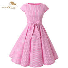 SISHION Brand Women Dress Pink Purple Dot Vintage Tunic Casual Summer Knee Length Swing Dresses For Lady Elegant Clothing VD0229(China)
